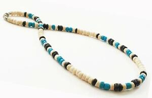 Men's Tan Blue Wooden CoCo Beads Necklace Surfer Choker Teen's Fashion