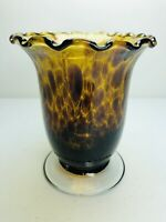 Vintage Leopard Glass Vase Amber Ruffled Tortoiseshell Footed Hand Blown 4 1/2""