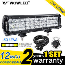 "72W 12"" 5D LED Light Bar Combo Offroad Driving for Car Truck 4WD Lamp + Wiring"