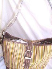 Slouch Handbag Stripe Purse Dark Brown Leather Trim Shoulder Bag Longaberger