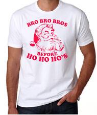 Christmas Bad Santa Bro's Before Ho's Rude Funny Xmas Party White T-Shirt