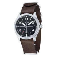 AVI-8 Men's AV-4028-07 43mm Black Dial Leather Watch