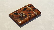 Brown shell & mother of pearl vintage Victorian antique card case / box