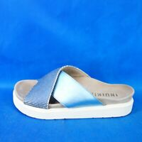 Inuikii Ladies Shoes Footbed Sandal Slippers Crossed Blue Leder Flat Np 159 New