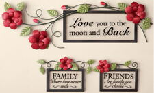 3 Piece Metal & GIass Inspirational Roses Wall Art Set - Love Family Friends