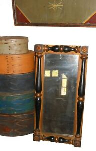 AAFA 1800s Folk Art Federal Corner Block Frame Mirror Antique
