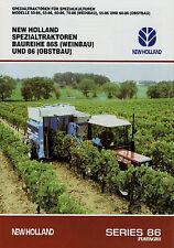 Prospekt New Holland 86 86S Traktoren 8/97 1997 Broschüre Traktor Weinbau Obstba