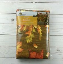 Vinyl Tablecloth 60 x 84 Fall Leaves Acorns Thanksgiving