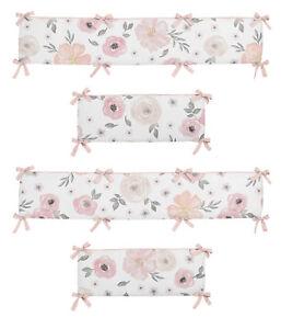 Sweet Jojo Pink Grey Watercolor Floral Shabby Chic Baby Girl 4pc Crib Bumper Pad