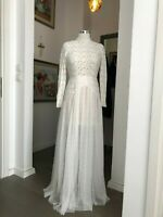 MILLIE MACKINTOSH Cream Lace Tulle Skirt High Neck Maxi Dress UK 10