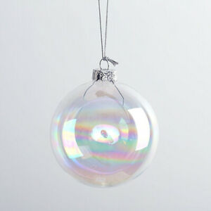 50x Clear Iridescent Glass Ball Fillable Baubles Christmas Wedding Tree Hanging