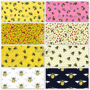 Animal print Honey bees 100% Cotton Fabric Kids Novelty sold by Half Metre FQ