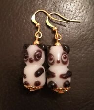 PANDA EARRINGS GLASS LAMPWORK NEW ON GOLD PLATED HOOKS, CAN USE 925 SILVER.