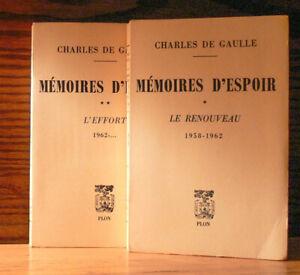Ch. DE GAULLE Mémoires d'Espoir (1958-62..) T 1 et 2  PLON 1970-71 E.O.numérotée