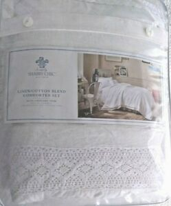 SIMPLY SHABBY CHIC LINEN/COTTON BLEND TWIN COMFORTER SET -- NEW