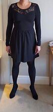 Ladies Party Club Beautiful Lace Neck Black Mini Dress Fits Size 8/10/12