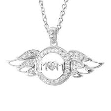 Sterling Silver Heart Love Angel Wing Mothers Day Diamond Necklace - 0.23 Carat