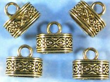 6 Cord Ends Tips Oval Celtic Heart Caps Gold Tone Kumihimo Glue In On #P1485