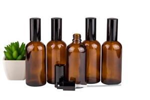 Pump Spray Bottles 100ml Amber Glass Mist Aromatherapy Spritzer Pack of 5