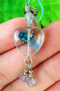 14x14x6mm Blue Millefiori Glass Love Heart Phone Accessories Chain AP14807