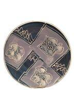 "Studio Art Pottery OOAK Signed Hudson Large 12"" platter abstract design Blue"