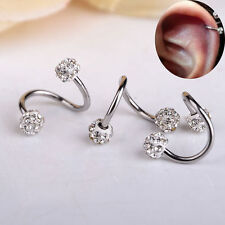 P Fashion Twisted Surgical Steel Crystal Balls Nose Hoop Ring 18g Body Jewelry