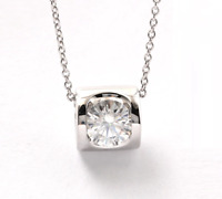 0.6Ct Round Cut D/VVS1 Diamond Heart Necklace 14K White Gold Over Sterling