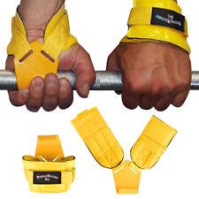 1 Paar Zughilfe Zughilfen Klimmzughaken Latzughilfen Griffhilfen Gelb NEU