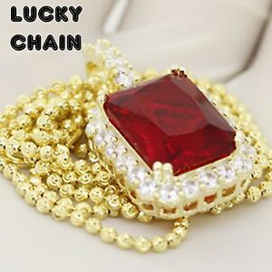 """24""""925 STERLING SILVER MOON CUT CHAIN NECKLACE GOLD RUBY PENDANT 18g R515"""