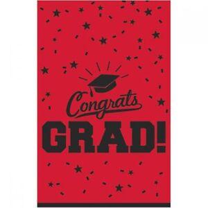 """Graduation Table Cloth Cover Red Plastic 54"""" x 84"""" Congrats Grad Amscan"""