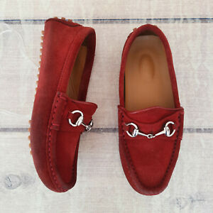 Gucci Kids Suede Red Moccasins Size 29 US 12 – 12 1/2 12.5 Girls Shoes Loafers