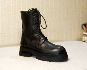 ANN DEMEULEMEESTER black leather lace up chunky sole combat boots 39-40 us8.5-9