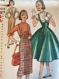 "Vintage High Rise Skirts W/ Suspenders Sewing Pattern 26"" Simplicity 1733 (169)"