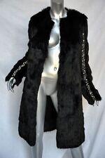 THOMAS WYLDE Long Black STUDDED Jeweled Military Rabbit FUR COAT Jacket S NEW