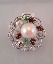Wire Work Flower Ring w Mother Of Pearl Effect Bead & Ribbon Details S: 7-N