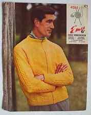 Vintage 1960s Emu 4061 knitting pattern Mens Cable windcheater zip jumper