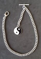 New silver colour Albert pocket watch chain with clasp,t-bar and yin  yang fob