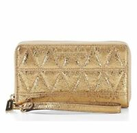 NWT MICHAEL KORS Large Flat Quilted Multifunction Phone Case Wristlet Pale Gold