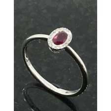 Diamond Jewellery 9ct White Gold Ruby & Diamond Cluster Ring JH000072