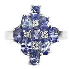 Deluxe Natural 5x3mm Blue Violet Tanzanite, WCz 925 Sterling Silver Cluster Ring