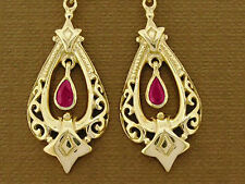E096 Genuine 9ct Solid Yellow Gold Natural Ruby Drop Dangle Earrings Antique sty