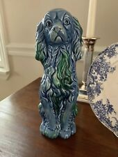Vintage Antique Staffordshire Dog spaniel Blue White Green