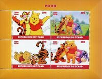 Chad 2018 CTO Winnie the Pooh Bear Tigger Eeyore 4v M/S Disney Cartoons Stamps