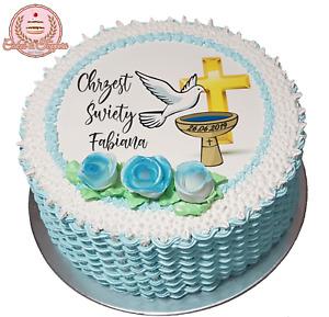 Chrzest Swiety Christening Baptism Photo Edible Icing Cake Topper