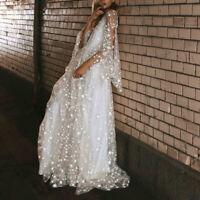 Ladies Mesh Glitter Stars Fairy Style Wedding Bridesmaid Gown Party Maxi Dress