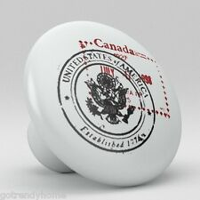 Canadian American Stamp Chop Ceramic Knobs Kitchen Drawer Cabinet Vanity 500