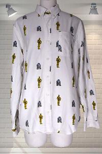 Mens Organic Cotton Button Through Collared Shirt STAR WARS R2D2 C3PO Dedicated