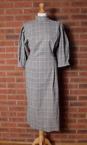 Zara Black White Houndstooth Check Midi Belted Dress Puff Sleeves Medium Blogger