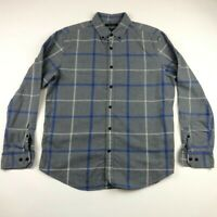 Banana Republic Mens Gray Plaid Button Down Camden Fit Luxe Flannel Shirt Large