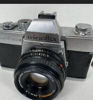 MINOLTA SRT-SC II, SLR 35mm Camera with MD Rokkor-X 45mm 1:2 Lens - TESTED